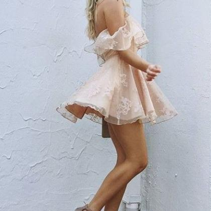 0c003acc31 A-Line Off-the-Shoulder Short Pearl Pink Lace Homecoming Dress
