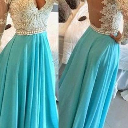 Blue Prom Dress,V-Neck Prom Gown,Ch..