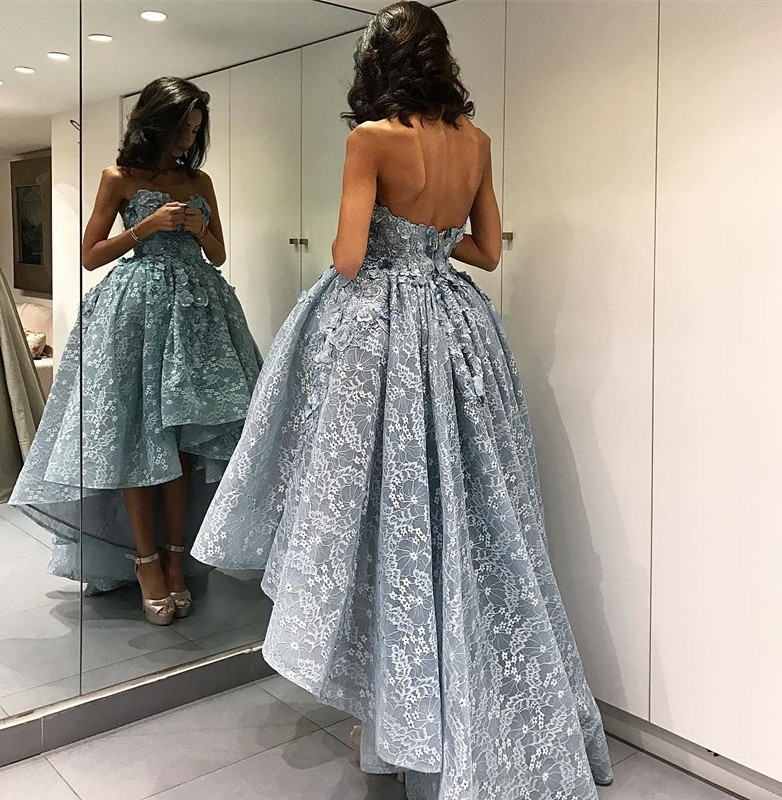 60bf7c65a Fashion Sweetheart Sleeveless Prom Dress,High Low Grey Lace Prom Dresses  with Appliques,Plus