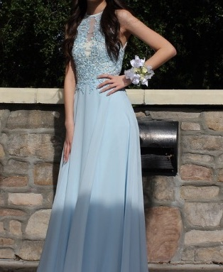 905638a1cd A-Line Prom Dress,Princess Scoop Neck Prom Gown,Floor-Length Chiffon ...