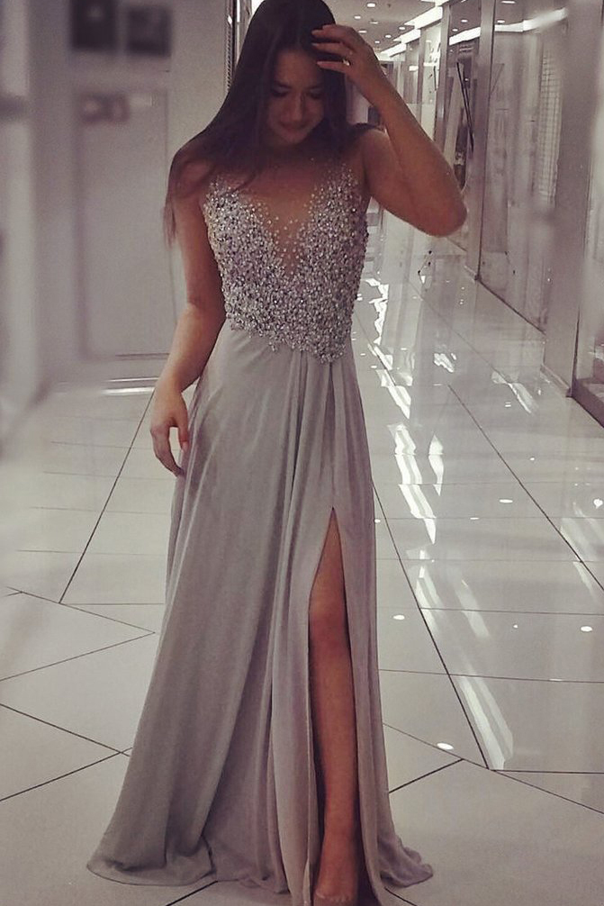 02950cc36e Grey Chiffon Prom Dresses,Sparkly Beaded Prom Dress with Slit,Sexy Long  Formal Dresses