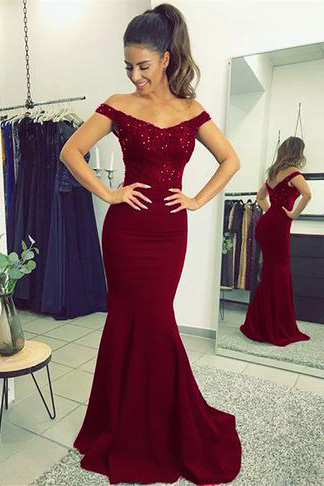 d9ca08bb8e3 Burgundy Mermaid Prom Dresses