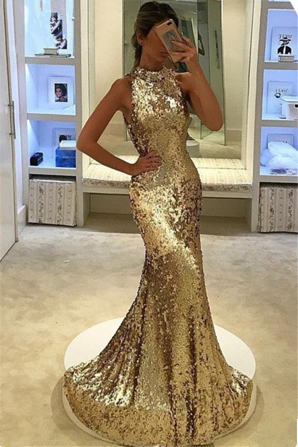 339a0d2f7ae Glamorous Mermaid Sequined Prom Dresses 2018 Halter Sleeveless Evening  Dress