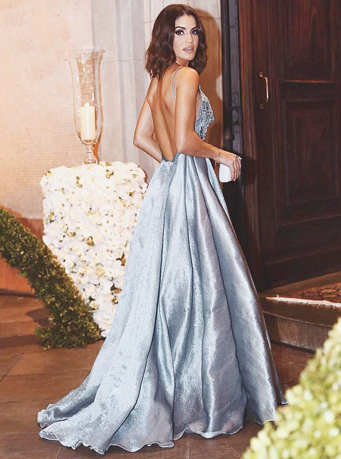 c27e7b3f7fb0d A-Line Spaghetti Straps Backless Light Sky Blue Beaded Appliques Prom Dress,Sleeveless  Stretch