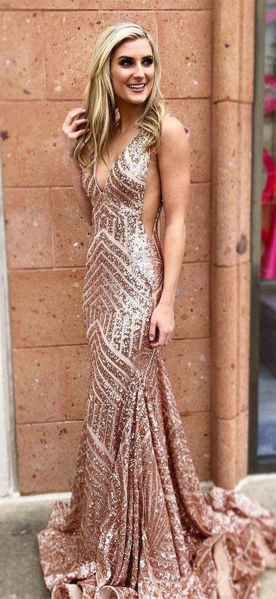 5499060f Sparkly Mermaid Prom Dresses,Rose Gold Prom Dress,Sequins Evening Dresses,Long  Party