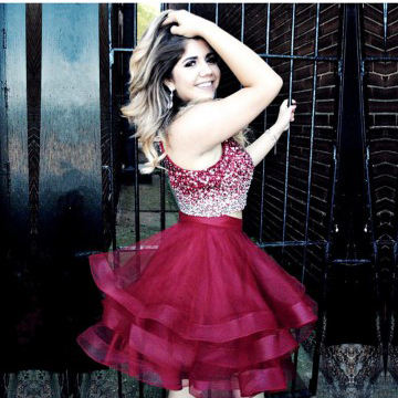 cb72cbb65 Ombre Prom Dresses,Two Pieces Short Prom Dresses,Beads Burgundy ...