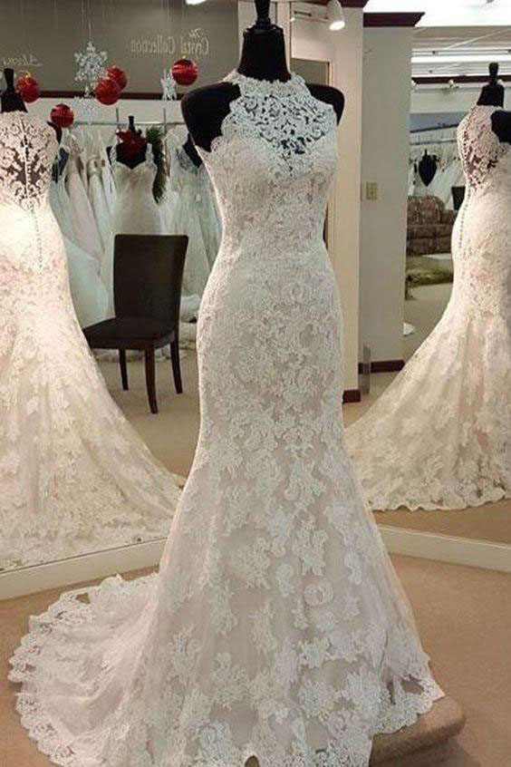 Sexy Elegant Halter Mermaid Bridal Dresses Lace Up Sleeveless Lace Wedding Dress Sleeveless Wedding Gowns Wedding Dresses Uh65
