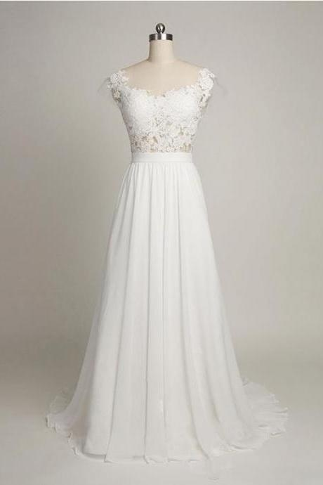 Lace Appliques Cap Sleeves Floor Length Chiffon A-Line Wedding Dress Featuring Sweep Train