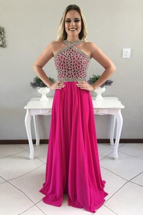 Chiffon Prom Dresses,Long Prom Dresses,A-Line Prom Gowns,Floor Length Prom Dresses,Fuchsia Prom Dress,Beading Prom Dress 2017,Charming Prom Dress, Prom Dresses