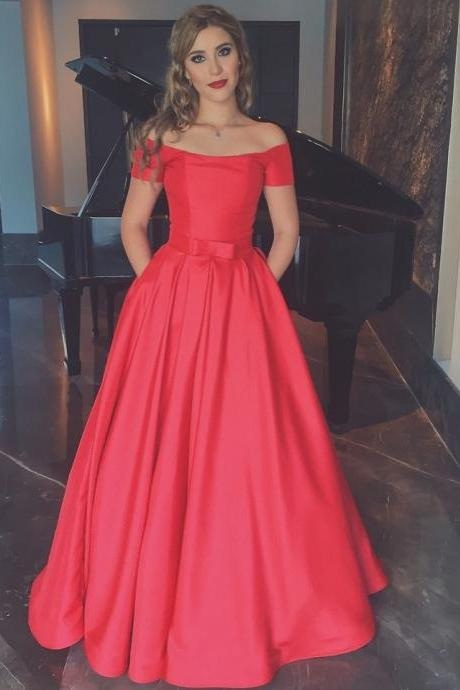 Charming Prom Dresses,Long Prom Dress,Off-The-Shoulder Prom Dress,Red Prom Gown,Satin Evening Dress,A-Line Prom Dress,Elegant Formal Gowns,New Arrival Prom Dress, Prom Dresses