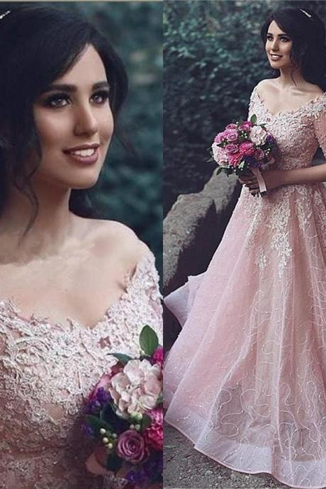 Appliques Prom Dresses,Half Sleeve Prom Dress,Pink Evening Gown,Ball Gown Prom Dress,Tulle Prom Gowns,Off-The-Shoulder Prom Dress,Beading Prom Dresses,Long Prom Gown, Prom Dresses
