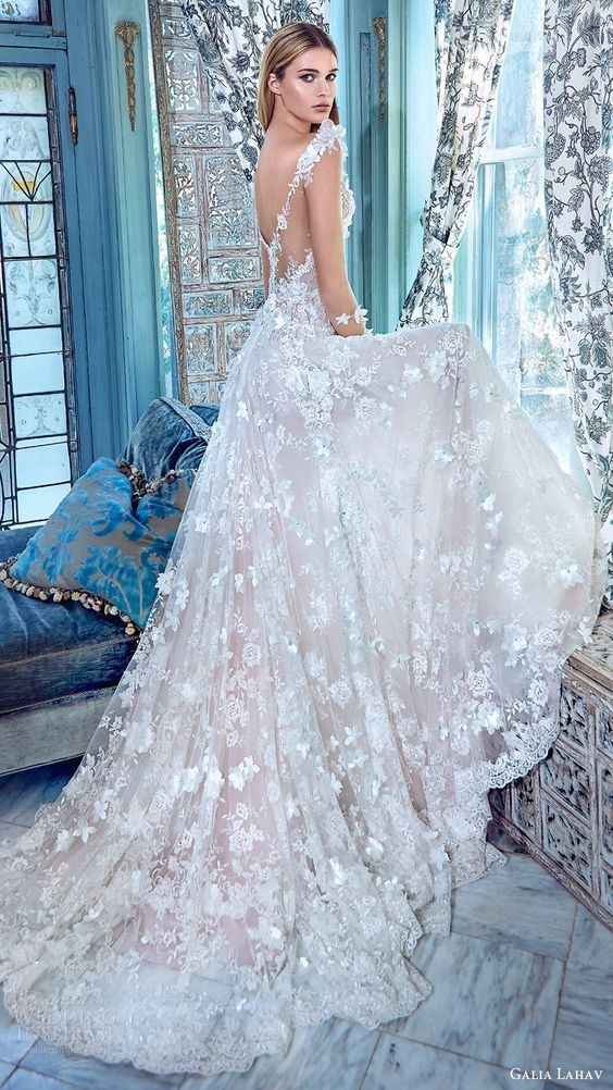 a5316fa3f042 Sheer Plunging V Floral Appliqués A-line Wedding Dress with Long Sleeves