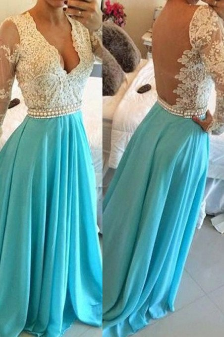 Blue Prom Dress,V-Neck Prom Gown,Chiffon Prom Dresses,Open Back Prom Dress,Evening Prom Dress,Long Sleeves Evening Dress,New Arrival Prom Dress,Prom Dresses