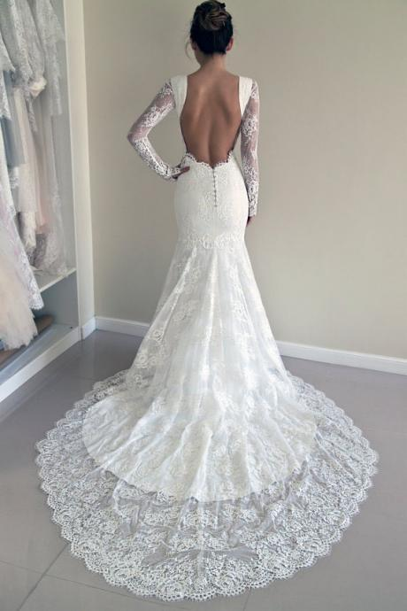 Lace Mermaid Bridal Dress, Trumpet Wedding Dress, Backless Wedding Dress, Long Sleeves Wedding Gown,Plus Size Wedding Dress,Wedding Dresses,HU89