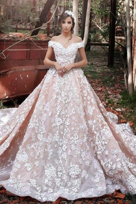 Luxurious Off Shoulder Wedding Gown,Watteau Train Formal Dress,Short Sleeves Organza Wedding Dress with Lace,Dramatic Blush Wedding Dresses,Wedding Dresses,RYU5467