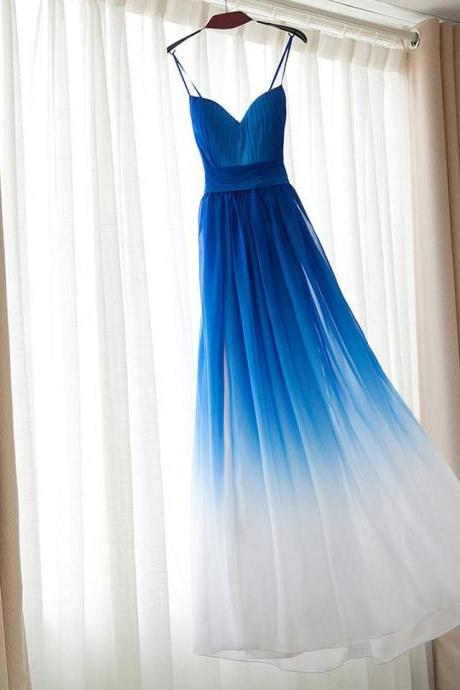 Spaghetti Strap Bridesmaid Dress,Royal Blue Ombre Long Bridesmaid Dresses,Chiffon Bridesmaid Dress,Royal Blue Ombre Prom Dress,A-line Sweetheart Bridesmaid Dress,Bridesmaid Dresses,HI75