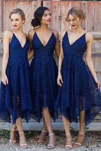 Navy Blue/Pink Prom Dress,Deep V-neck Spaghetti Straps Bridesmaid Dress,Sleeveless Asymmetry Lace A-line Bridesmaid Dress,Bridesmaid Dresses HY567
