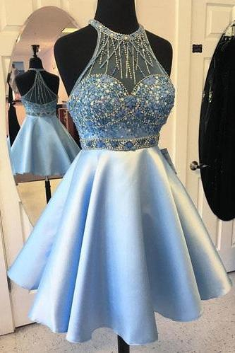 Charming Beaded Homecoming Dresses,Light Blue Satin 2017 Dresses,Sweet 16 Cocktail Dress,Plus Size Short Prom Dress,Homecoming Dress,DR89