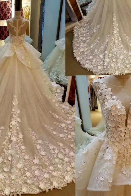 Lace Appliqued And Flowers Chapel Train Wedding Dresses,Pretty Bridal Gowns,Ivory Sleeveless Scoop Neckline Wedding Gown,Ball Gown Wedding Gowns,Wedding Dresses,GH34