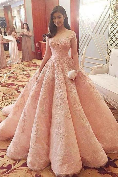 Blush Pink Evening Dress,New Fashion Prom Dress,Gorgeous Sweet 16 Gowns, Pink Ball Gowns Evening Dresses, Long Quinceanera Dresses,Quinceanera Dresses,HGU66