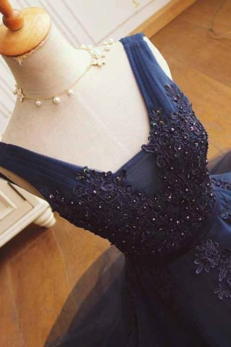 A-Line V-Neck Homecoming Dresses,Short Dark Blue Graduation Dresses,Tulle Homecoming Dress with Beading Appliques,Cute Sleeveless Graduation Dress,Homecoming Dress,BH46
