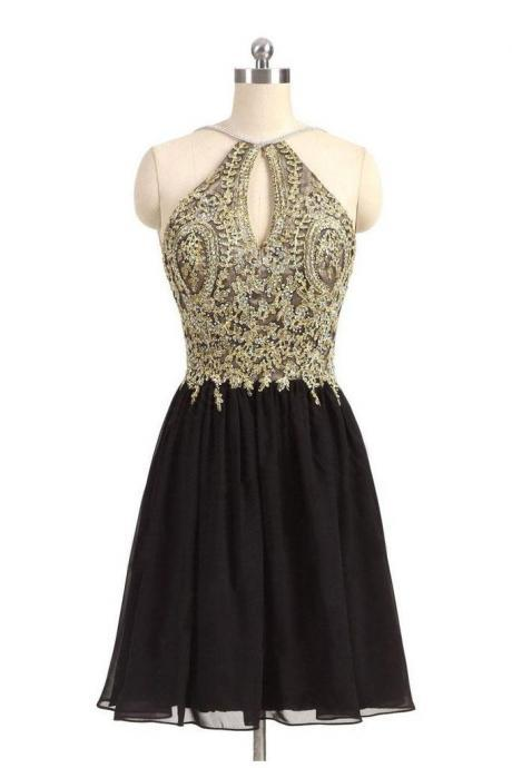 Black Chiffon Homecoming Dress,Gold Beading Lace Halter Graduation Dress,Backless Appliqued A-line Homecoming Dresses For Teens,Homecoming Dress,DR45