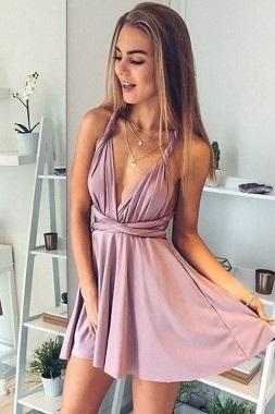 A-Line Deep V-Neck Graduation Dresses,Lace-Up Blush Cocktail Dress,Satin Short Homecoming Dress with Ruched,Short Mini Prom Dress,Homecoming Dress,BH50