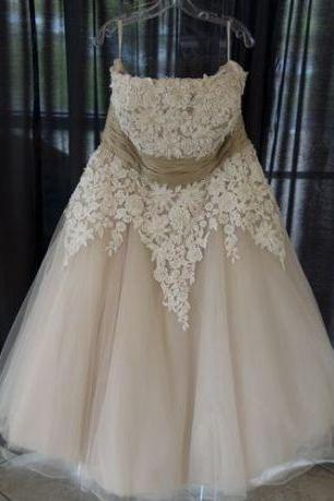Strapless Lace Wedding Gowns,Appliqued Plus Size Short Wedding Dresses,Floor-Length Open Back Bridal Dress,Tulle Wedding Dress,Wedding Dresses,HJ67