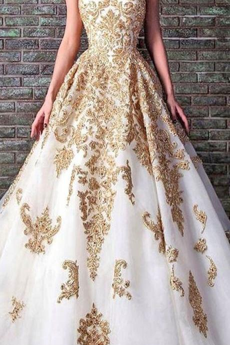 White and Gold Prom Dresses,Lace Ball Gown Evening Dress,A-line Party Dress,Sweetheart Long Prom Dress,Strapless Formal Dresses,Prom Dresses,NU66