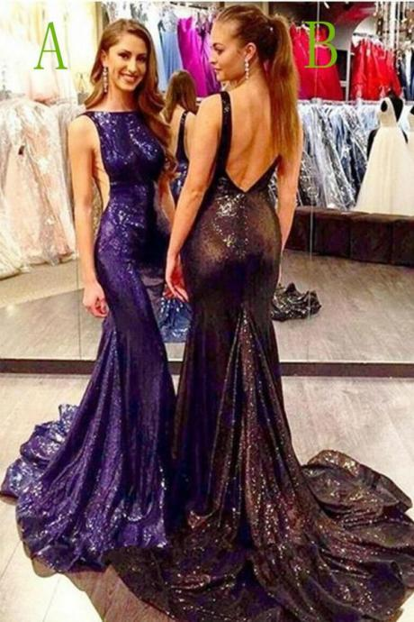 Black Prom Dresses,Long Prom Dresses,Sparkly Long Backless Sweep Train Black Modest Party Dresses Prom Dresses,Prom Dresses,BY60