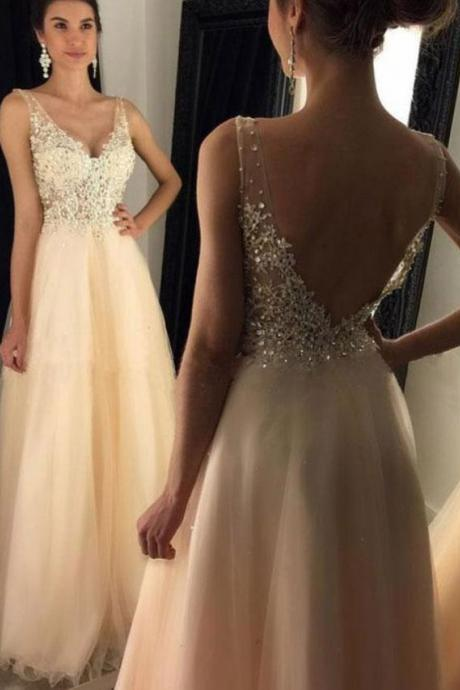 A-line Tulle with Lace Prom Gowns,See-through Bodice Evening Dresses,V-Neck Long Prom Dresses,Beads Backless Formal Dresses,Prom Dresses,BH698