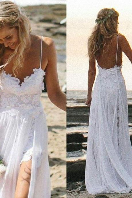 White Wedding Dresses,Chiffon with Lace Appliqued Wedding Gowns,Spaghetti Strap Beach Wedding Dresses,Slit Backless Bridal Dress,Wedding Dresses,HGY78