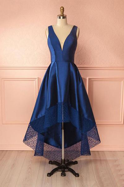 Deep Blue Bridesmaid Dresses,V-Neck Prom Dresses,High Low Evening Dress,Lace Satin Bridesmaid Dresses,Open Back Party Dress,Bridesmaid Dresses,BH785