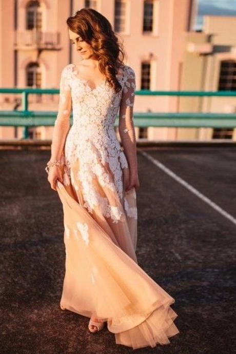 Elegant Prom Dresses,Champagne Prom Dress,Tulle and Lace Prom Gown,V-Neck Appliques Prom Dresses,Long Sleeves Prom Dress,Wedding Dress,Prom Dresses,BU57