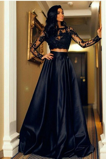 Two Piece Prom Dresses,A-Line Scoop Prom Gowns,Long Sleeve Party Dress,Floor Length Black Prom Dress With Lace,Satin Evening Dress,Prom Dresses,HG658