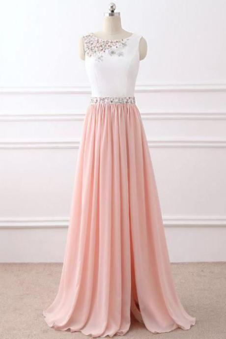Chic A-Line Evening Dress,Scoop Floor-Length Party Dresses,Chiffon Pink Prom Gowns,Beading Long Prom Dress,Sleeveless Zipper Party Dress,Prom Dresses,HG57