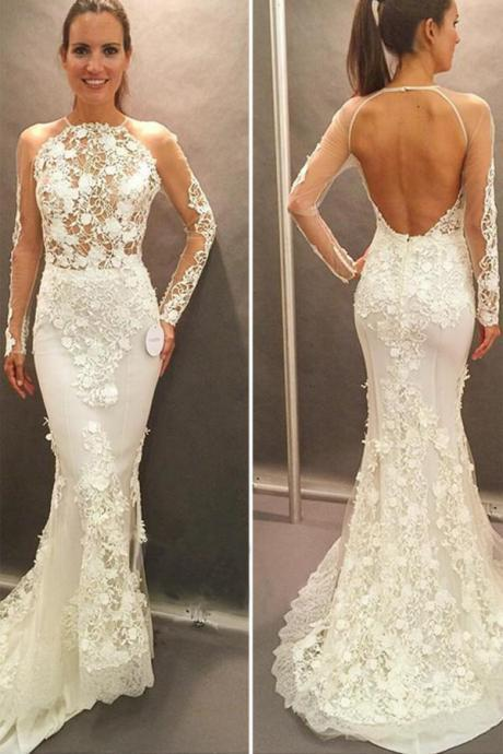 Long Sleeves Bridal Dress,Lace Appliques Wedding Gowns,Open Back Court Train Wedding Dress,Mermaid High Neck Wedding Dress,Wedding Dresses,TU57