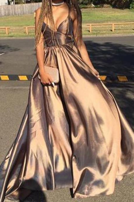 Spaghetti Strap Coffee Prom Gowns,Satin Chiffon A-line Prom Dresses,New Arrival Affordable Long Prom Dresses,V-Neck Criss-Cross Evening Dress,Prom Dresses,CV68
