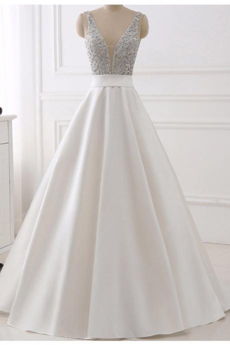 White Real Image Evening Dresses,Sparkly Beading Bodice Long Prom Party Gown,V-Neck Backless Prom Dress,Sleeveless Party Dress,Prom Dresses,BH78