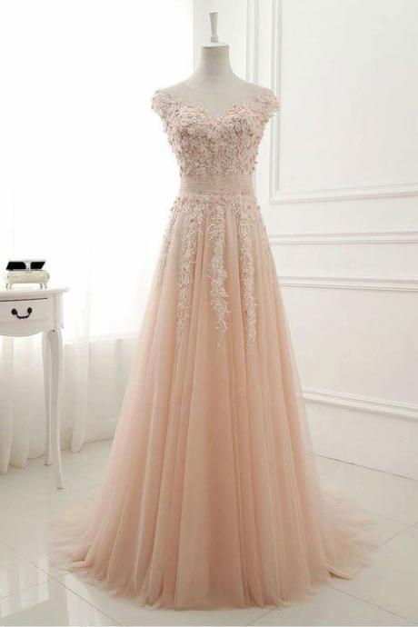 Pink Round Neck Evening Dresses,Lace Applique Prom Gowns,Tulle Long Prom Dresses,Backless A-Line Sleeveless Floor-Length Party Dress,Prom Dresses,FC65