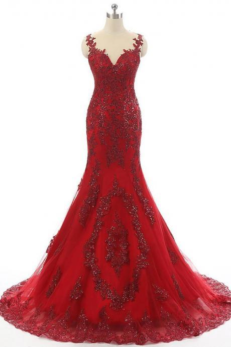 2017 Red Tulle Prom Dress,Lace Rhinestone Luxury Evening Dresses,Real Made Long Prom Dresses,Mermaid Yarn Formal Dress,Prom Dresses,TER47