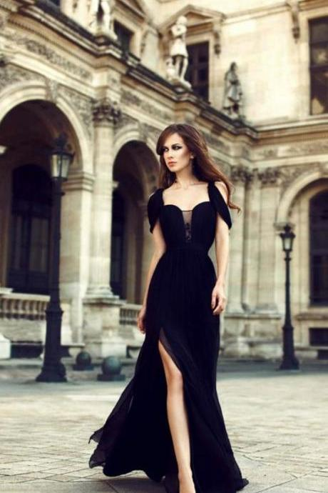 Charming Chiffon Black Side Slit Prom Dresses,Long Evening Dress,Black Formal Dress Elegant Prom Dress,Sexy Prom Gowns,Prom Dresses N547