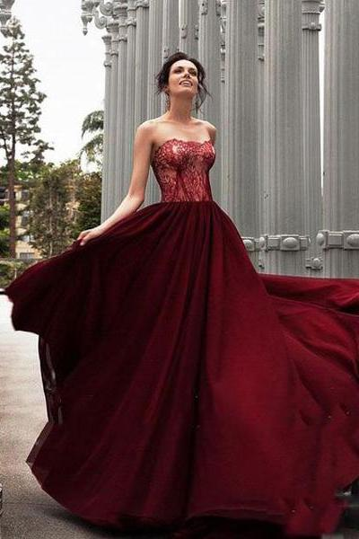 Glamorous A-Line Strapless Burgundy Long Evening Dress With Lace,Lace up Backless Prom Dress,Sweetheart Formal Dress,Prom Dresses HT67