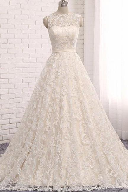 Custom made A line Lace Tulle Long Wedding Dresses,Backless Scoop Ivory Sleeveless Bridal Dress,Wedding Dresses HU54