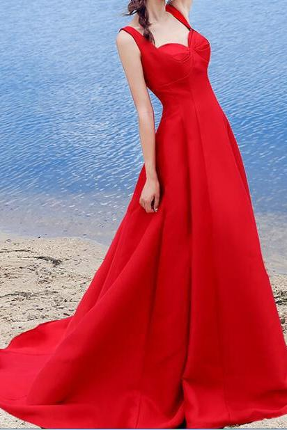 Sexy Red Prom Dress,A-line Halter Prom Dresses,Satin Lace Up Formal Dress Prom Gowns,Sweetheart Sleeveless Evening Dresses,Prom Dresses GY56