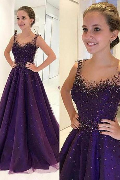 A-Line Scoop Floor-Length Grape Tulle Prom Dress with Beading,Sleeveless Evening Dresses,Prom Dresses BR67