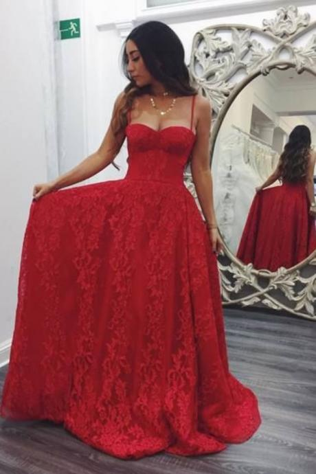 Sexy Prom Dress,Spaghetti Straps Prom Dresses,Long Lace Prom Dresses,Red Prom Dresses,Long Evening Dress,Formal Women Dress,Prom Dresses BT543