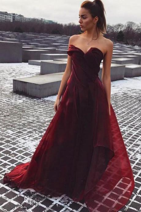 A-Line Sweetheart Prom Dresses,Strapless Burgundy Evening Dresses,Organza Prom Dress with Ruched,Sleeveless Organza Formal Dress,Prom Dresses GT43