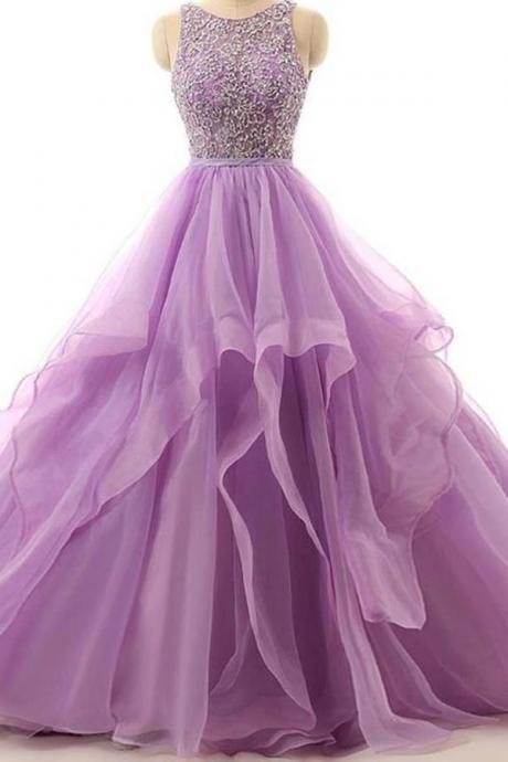 Illusion A-line Organza Cheap Evening Dress,Prom Dresses With Beading,Purple Backless Formal Dresses,Round Neck Sleeveless Party Dress,Prom Dresses TW55