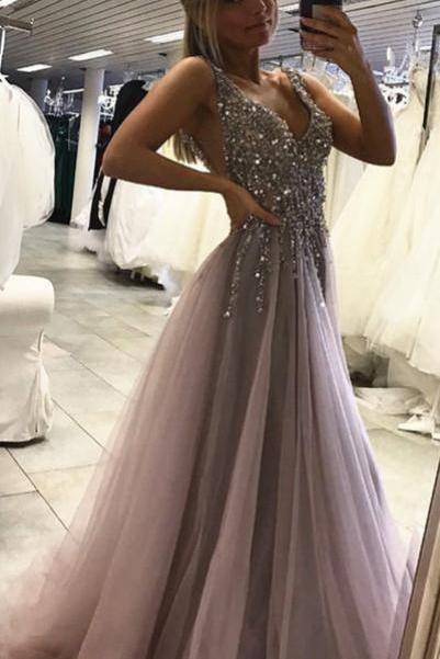 Sexy Side Split Prom Dress,Sleeveless Tulle Evening Dress,Long Party Dress,Backless Beads Prom Dresses,High Slit Prom Gowns,Prom Dresses RE43